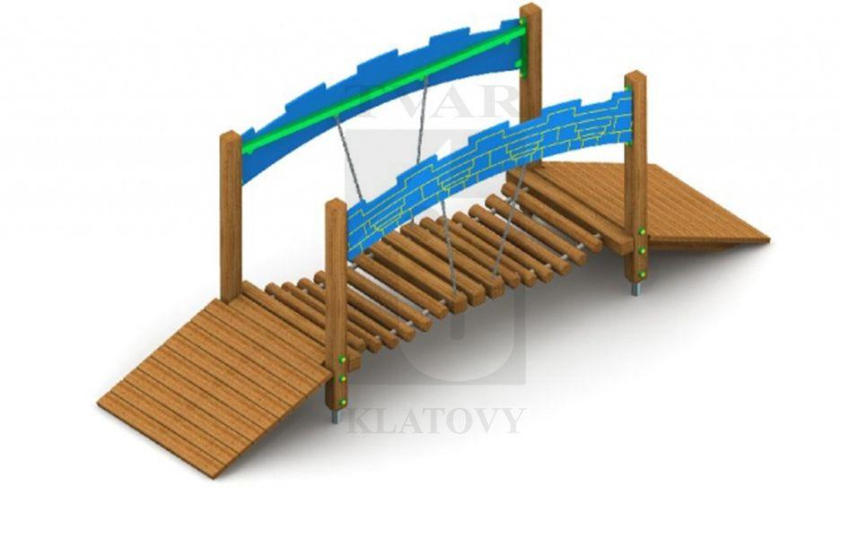 Mostík s drevenými, pohyblivými, pochodznymi stupňami