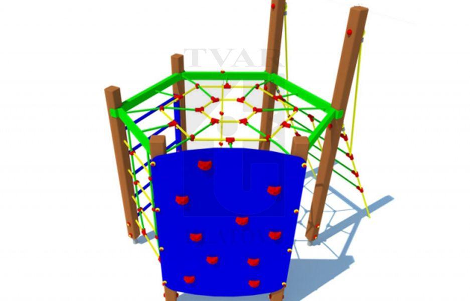 OR - Prolézačka s horizontální sítí, šikmým lanovým výstupem,  horolezeckou stěnou, vertikální žebřinou, lanovou sítí a šplhacím lanem