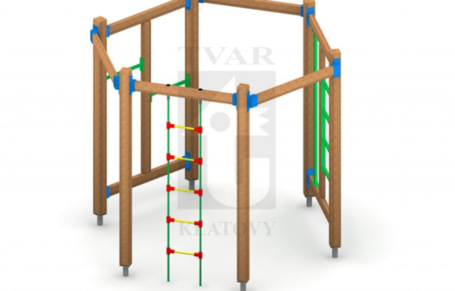 PA 1 - Ocelové žebřiny,  tyč na šplh,  dvě hrazdy, lanový žebřík
