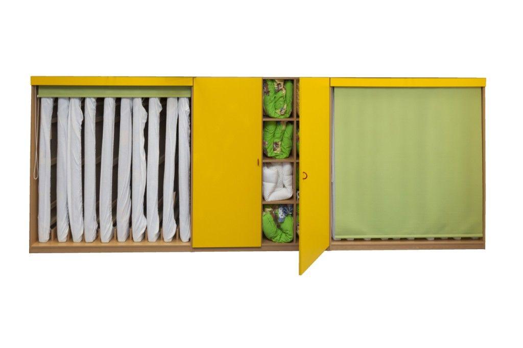 Sestava skriní na lôžkoviny a matrace pre 16 detí