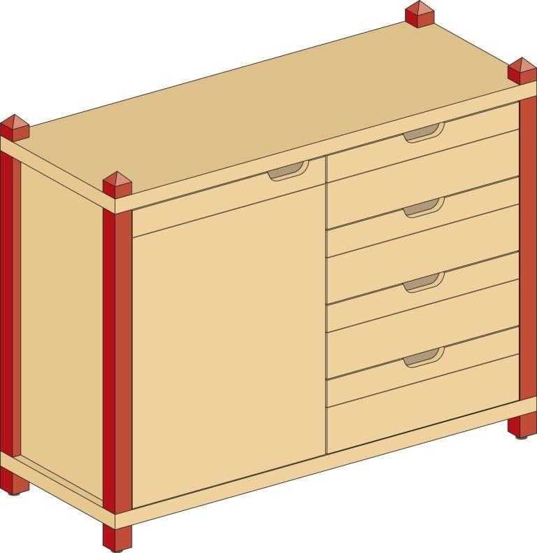 Skrinka kombinovaná jednodveřová so zásuvkami