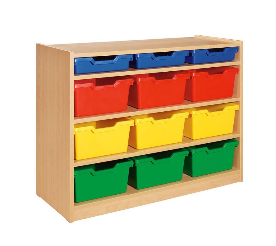 Skrinka so 3 vloženými policami a 12 plast. zásuvkami