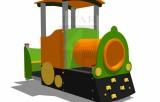 Lokomotiva s horolezeckými úchytmi, tunelom a lavičkou