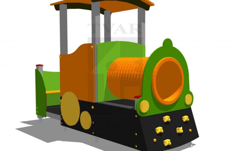 LOK 2 - Lokomotiva s horolezeckými úchyty, tunelem a lavičkou
