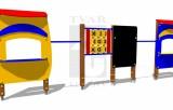 Zostava - dva obchodíky, tabuľa, piškorky a dve tyče