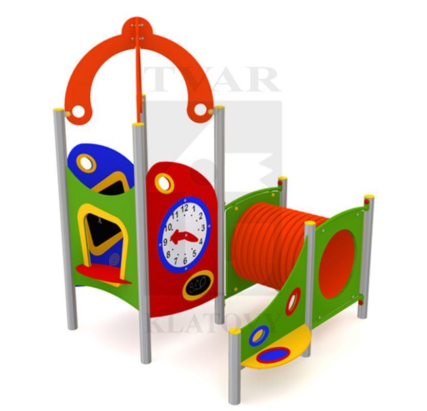 DOM 2 - Domeček s lavičkou a sítkem na písek, tabulí, obchůdkem, hodinami, stříškou a tunelem