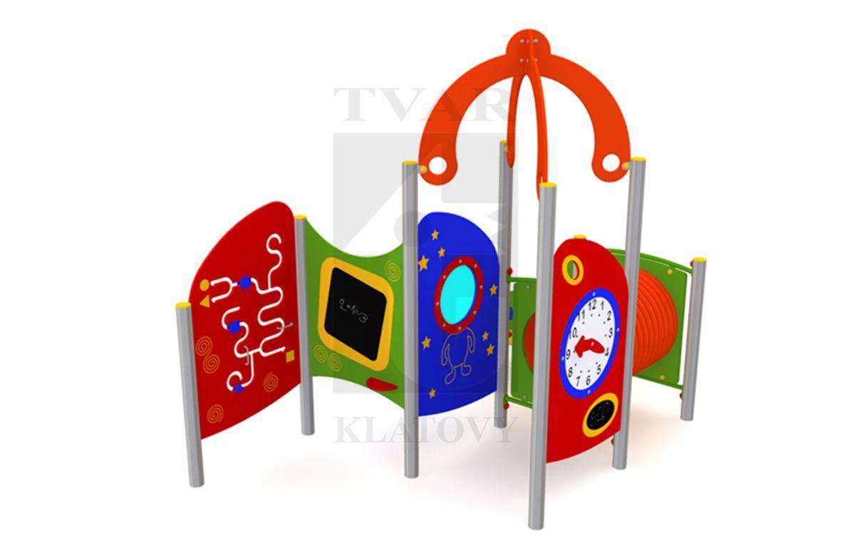 DOM 5 - Domeček s lavičkou, sítkem na písek a kuchyňkou, tunelem, hodinami, stříškou, malým oknem, manuální hrou zručnosti