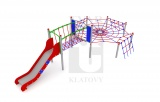 Lanová preliezka pavučina s mostíkom a nerezovou šmýkľavkou