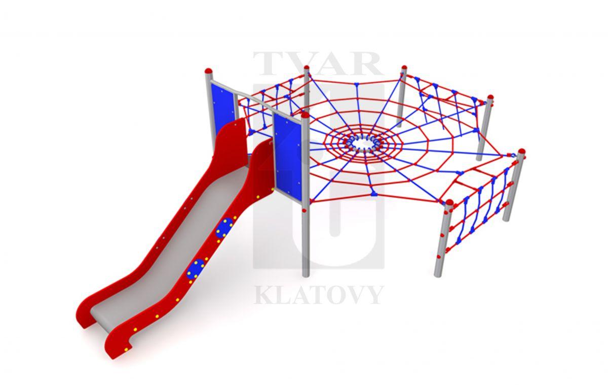 ARAK 2 - Lanová prolézačka pavučina s nerezovou skluzavkou