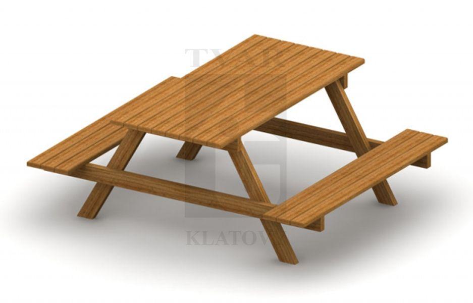 KOM 1 - Set stolu s lavicemi - celodřevěný