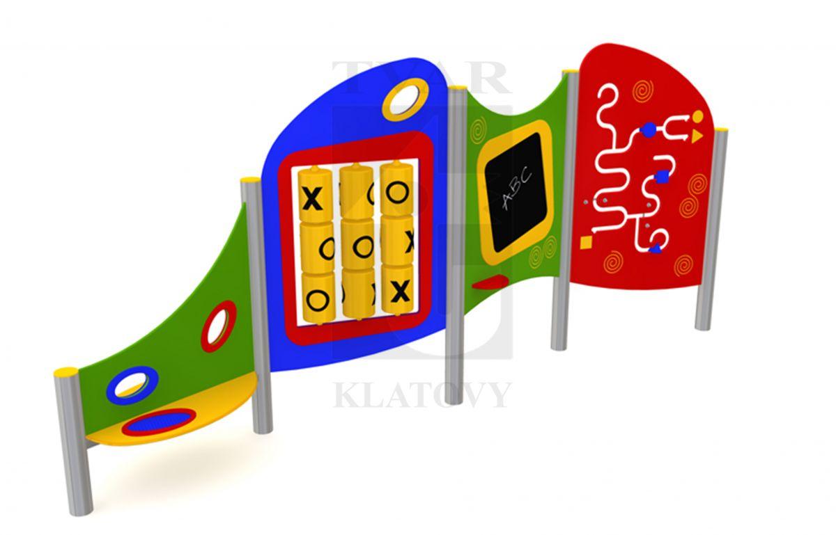 PLOT EL 3 - Sestava se stolkem a sítkem na písek, labyrint, tabule a piškvorky