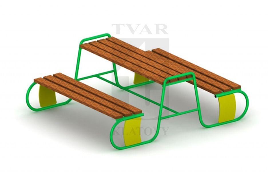 KOM 2 - Set stolu s lavicemi - kov