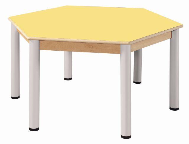 Stôl šestiúhelník 120 cm / výškově stavitelné nohy 36 - 52 cm