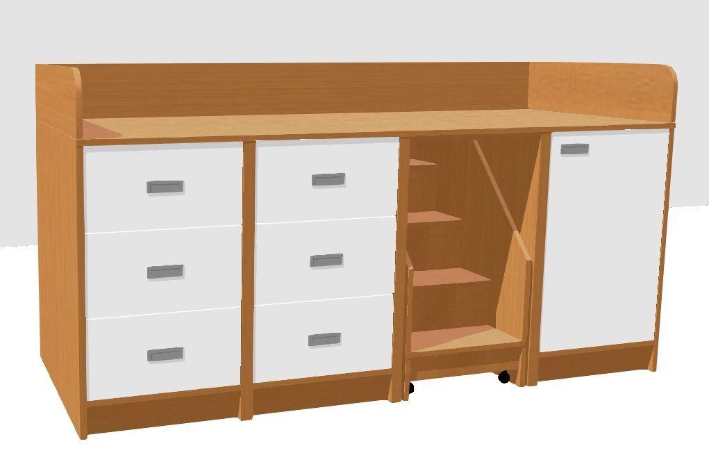 Prebaľovací pult so zásuvkami,dverami a schodíkmi