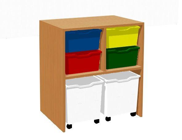 Skrinka s 4 plastovými zásuvkami a 2 zásuvkami na kolieskach TVAR v.d. Klatovy