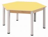 Stôl šestiúhelník 120 cm / výškově stavitelné nohy 40 - 58 cm