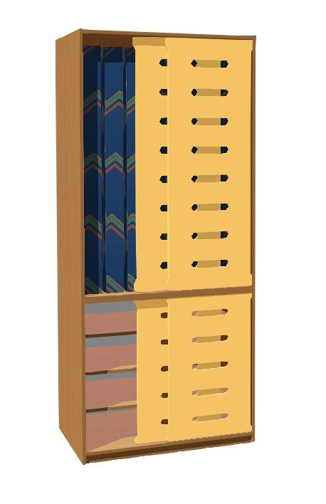 Skriňa na lôžkoviny a matrace do 140 cm - pre 8 detí, posuvné dvere