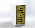 Skrinka pre prebaľovací pult s 8 plastovými zásuvkami, š.41,5 cm