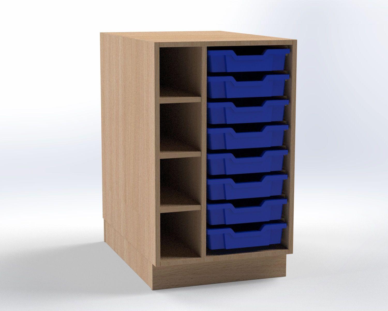 Skrinka pre prebaľovací pult s 8 plastovými zásuvkami (levá), š.52,5 cm