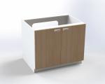 Skrinka pre prebaľovací pult s dvierkami, pre inštaláciu vaničky, š.105 cm