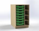 Skrinka pre prebaľovací pult s 8 plastovými zásuvkami (pravá), š.52,5 cm